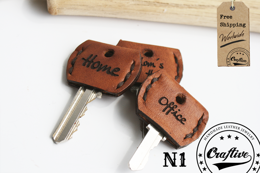 Leather Key Cover Sleeve,Hand-stitched Key Topper Cap,Set of Two Caps, chain fob accessories,Housewarming gift,Free Shipping,CraftiveLeather (1)